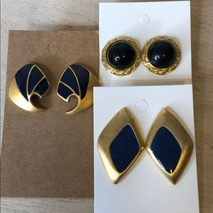 3 pairs of vintage earrings statement gold tone